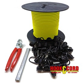 "3/16"" COMPLETE BUNGEE CORD KIT • 100' CORD • 100 HOG RINGS • (OPTIONAL - 30 PLASTIC COATED METAL SPRING HOOKS • CRIMPING PLIERS)"