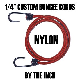 "(1/4"") NYLON HEAVY DUTY PLASTIC COATED METAL SPRING HOOK CUSTOM BUNGEE CORDS (BY THE INCH) - (sizes are from hook end to hook end)"