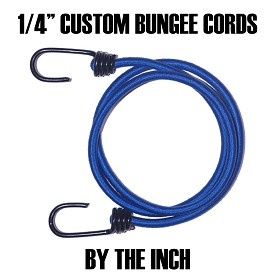 "(1/4"") HEAVY DUTY PLASTIC COATED METAL SPRING HOOK CUSTOM BUNGEE CORDS (BY THE INCH) - (sizes are from hook end to hook end)"