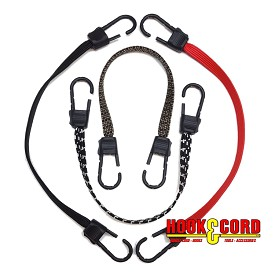 "(5/8"") USA FLAT BUNGEE CORD with TITAN II HOOKS - STOCK SIZES"