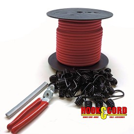 "5/16"" COMPLETE BUNGEE CORD KIT • 100' CORD • 100 HOG RINGS • (OPTIONAL - 30 PLASTIC COATED METAL SPRING HOOKS • CRIMPING PLIERS)"